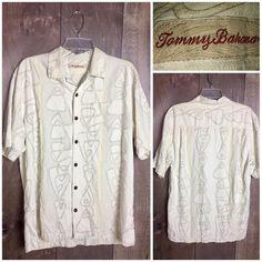 Men's Tommy Bahama Short Sleeve Button Down 100% Silk Size M  | eBay