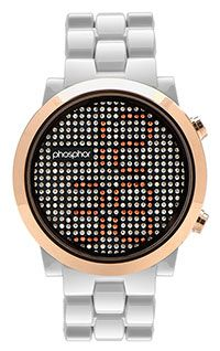 Phosphor Appear rose gold crystal watch with white nylon bracelet… push a button and the crystals turn over and show the time! watch a review here: http://www.youtube.com/watch?v=0IXDTfgDf2s