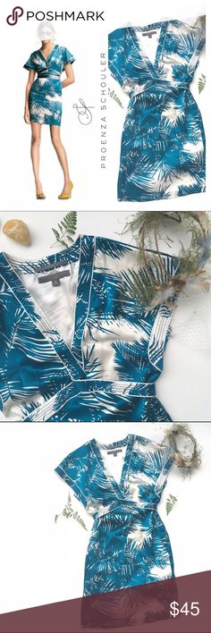 "Proenza Schouler Blue Silk Mini Dress XS PS for Target Gorgeous 100% silk blue and white palm print kimono-inspired mini dress. Ties around waist. Size XS. Excellent pre-owned condition! Approx. Measurements: 18"" flat from armpit to armpit, 14"" flat across waist, 16"" flat across hips, 34.5"" long. 🎀Search my closet for your size to bundle & save Proenza Schouler Dresses Mini"