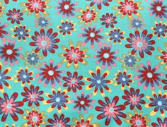 Aqua Floral Fabric, Bright Floral Fabric, Bright Flower Fabric, Colorful Fabric, Fabric by the Yard, Custom Cuts Available, See Details