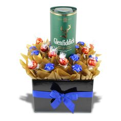 Glenfiddich Scotch and Chocolates consists of a 700ml bottle of Glenfiddich Scotch Whisky along with 10 Lindor lindts or Ferrero Rocher or Baci Chocolates and 10 solid Cadbury chocolate stars.
