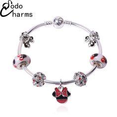 DARLING HER Charm Bracelets /& Bangles Women Jewelry Minnie Pink Bow-Knot Pendant Bracelet DIY Handmade for Girl Gift Blue Zinc Plated 21cm