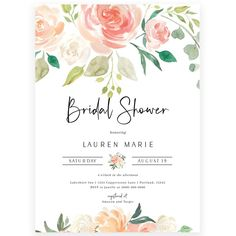 Peach Florals Bridal Shower Invitation | Forever Your Prints