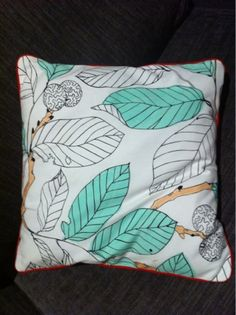 Upcycled Ikea fabric remnant into piped cushion