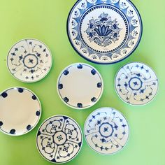 A mixture of lovely blue plates