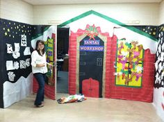 our school has a door decorating contest each year the other first grade teacher and i teamed up to create santa's workshop. 4 hours and a .