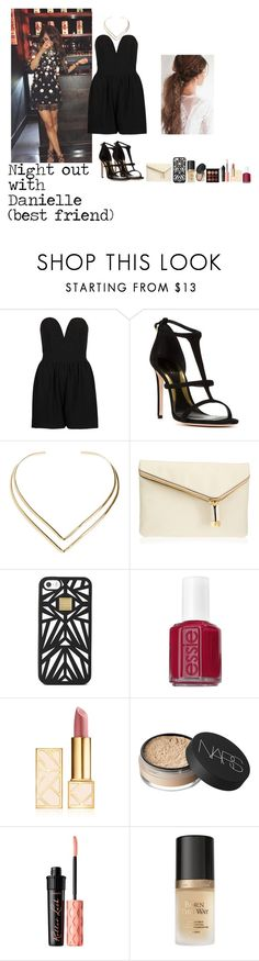 """Night out with Danielle"" by enjoyvampire ❤ liked on Polyvore featuring TFNC, Sebastian Milano, Natalie B, Henri Bendel, Hervé Léger, Essie, Tory Burch, NARS Cosmetics, Benefit and Too Faced Cosmetics"