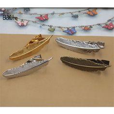 BoYuTe 20Pcs Fashion Feather Design Antique Bronze Silver Rhodium Gold Plated Mens Tie Clip