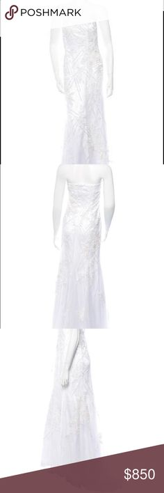 """Valentino Wedding Dress This Item Has Original Tags And Shows No Visible Signs Of Wear.  Authentic White Valentino strapless tulle gown with sequin embellished guipure lace embroidery throughout, boning at bodice and concealed zip closure.  Size not listed, estimated from measurements. Includes tags. Condition: Very Good. Size and fabric tag not listed; light marking at lining. Measurements: Bust 34"""", Waist 26"""", Hip 36"""", Length 60""""  Fabric Content: Not listed, feels like silk blend.   10%…"""