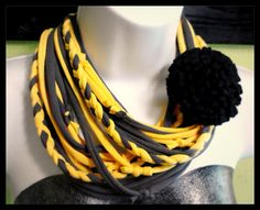 T-shirt Scarf - Re-cycled Up-Cycled Jersey Infinity Recycled T-shirt Scarf scarves GREY YELLOW. $15.00, via Etsy.