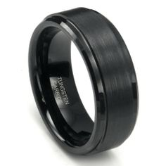 8MM Black High Polish / Matte Finish Mens Tungsten Ring Wedding Band: Jewelry