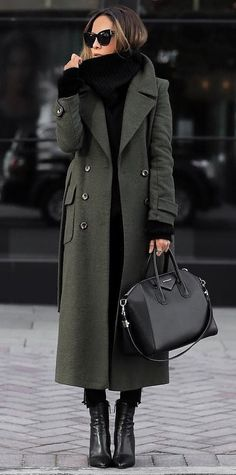 #winter #outfits  gray and black coat