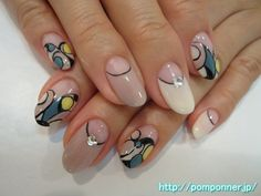 スモーキーカラーのプッチ風アート nail art Pucci style stylish. I've put a Pucci-style Art smoky color. Nails other, to create a reverse French off-white, gray beige, middle finger was decorated in stone.
