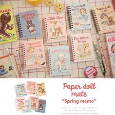 Afrocat Paper Doll Mate Spring Memo Mini Notebook Paper Note Alice Julie Bear #Afrocat