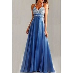 $19.52 Graceful Sequined Halter Backless High Waist Pleated Prom Dress For Women