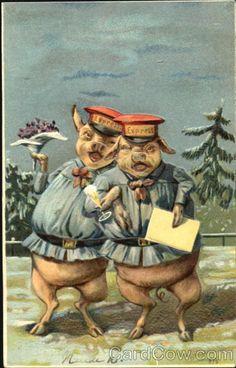 Mailman Pigs Drinking Series 975