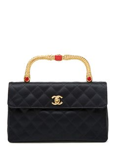 Black Satin Gold Handle Bag from Little Luxuries: Vintage Clutches