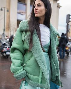 Gilda Ambrosio in Mint Caroline Kummelstedt Shearling Coat and @the_attico designs.