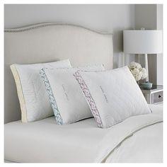 Ava Down Alternative Bed Pillow (Jumbo) White & Yellow - Laura Ashley