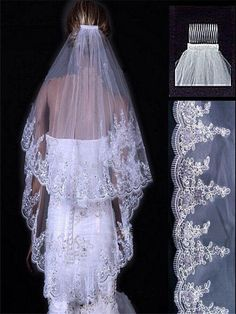White-Ivory-1-2layer-short-Elbow-3m-Cathedral-With-Comb-Bridal-Wedding-Veils