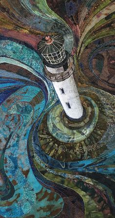 """""""Bird & # s eye view II"""" machine-embroidered textile by Rachel Wright - Stitching Projects Doodle Drawing, Landscape Art Quilts, Landscapes, Thread Painting, Am Meer, Art Graphique, Textile Artists, Art Plastique, Fabric Art"""