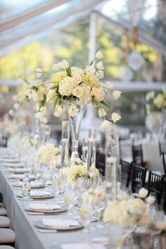 Elegant & Romantic White Wedding centerpieces