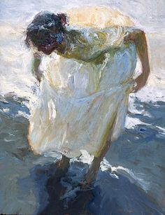 Dan McCaw (American, b. 1942), oil on canvas {figurative #expressionist art painter female standing woman #impasto texture smudged painting #loveart #2good2btrue} mccawfineart.com