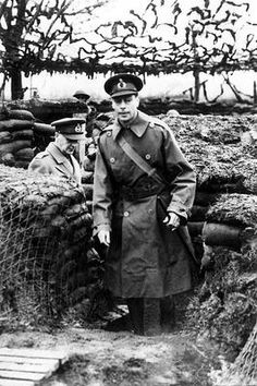 King George VI (1895-1952), King of Great Britain (1936-1952) during inspection of Allied positions on the Western Front.