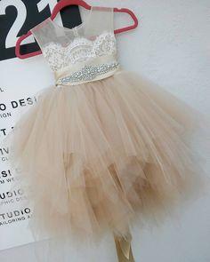 Champagne blush 'Bianca' flowergirl dress