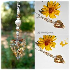 Unique golden topaz Wild Heart Swarovski crystal suncatcher for the rearview, light pull, fan pull or window! Ceiling Fan Pulls, Hanging Crystals, Golden Heart, Light Pull, Heart Decorations, Wild Hearts, Suncatchers, Wind Chimes, Topaz