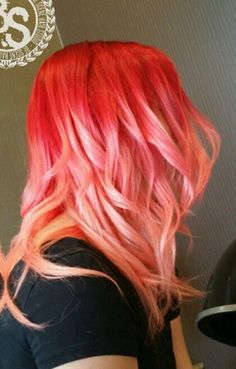 Red orange ombre pastel hair