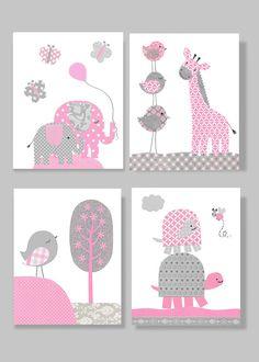 Gray and Pink Nursery Art Elephant Bird by SweetPeaNurseryArt, $43.00