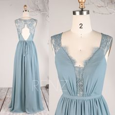Bridesmaid Dress Dusty Blue Chiffon Dress Long Wedding Dress V Neck Maxi Dress Illusion Lace Open Back Prom Dress A-Line Party Dusty Blue Bridesmaid Dresses, Blue Chiffon Dresses, Open Back Prom Dresses, Illusion Dress, Different Dresses, Sequin Dress, Dress For You, Just In Case, Designer Dresses