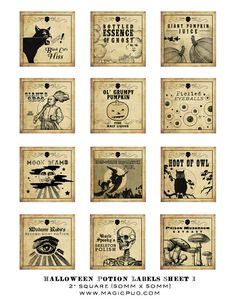 I love this etsy seller (magicpug)'s  labels because they're gorgeous and Halloween-y, without crossing the line into gross. I get that it's Halloween and we're pretending, but I can't actually bring myself to pour a glass of something labeled poison, swamp demon guts, etc.. Moon beams or Black Cat's Hiss, however? Spooky AND lovely.
