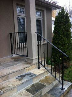 Real Home Inspiration: porch railing kits for sale only on this page Porch Railing Kits, Wrought Iron Porch Railings, Porch Handrails, Exterior Stair Railing, Porch Railing Designs, Outdoor Stair Railing, Iron Handrails, Railings For Steps, Railing Ideas