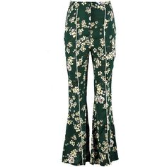 67ef04cc3356 Boohoo Lyra Woven Oriental Sateen Slim Flare Trouser (1900 RSD) ❤ liked on Polyvore  featuring pants, flared palazzo pants, wide-leg trousers, green palazzo ...