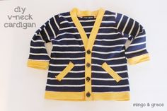 Diy toddler v-neck cardigan. This could totally work for adult sizes. | mingoandgrace.com