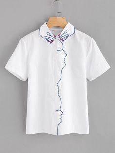 Blusa bordada de cuello en forma de mano