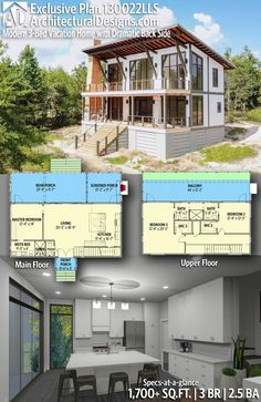 Trendy Ideas For Modern House Plans : – Picture : – Description Introducing Architectural Designs Exclusive Modern Vacation Home Plan with 3 Bedrooms 2 full baths and 1 half bath in Sq Ft. Lake House Plans, Modern House Plans, House Floor Plans, Building A Container Home, Container Homes, Porch And Balcony, Sims House, Future House, Planer