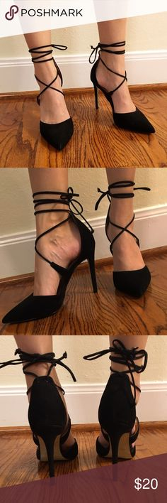 Steve Madden Suede Pumps Black strappy suede pumps Steve Madden Shoes Heels