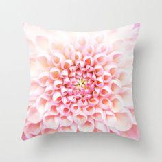 Pink flower pillow, home decor cushion with chrysanthemum petals, soft furnishing, girls feminine bedroom or l...
