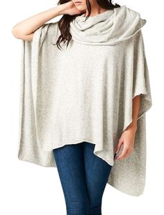 "CHELSEA VERDE ""Cashmere Feel"" Dove Gray Slouchy Poncho/Sweater"