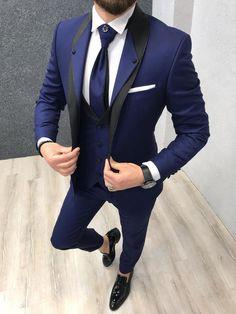 Lazio Sax Tuxedo Suit - Tuxedo - Ideas of Tuxedo - Size : EU PolyesterMachine washable : NoFitting : Regular Slim-fitRemarks: Dry Cleaning OnlySeason : 2019 Spring Wedding Season Prom Suits For Men, Dress Suits For Men, Men Wedding Suits, Tuxedo Wedding, Men Wedding Fashion, Trendy Suits For Men, Suit For Men, Vintage Wedding Suits, Wedding Tuxedos