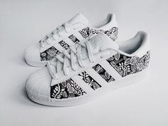Resultado de imagen para Custom Adidas Superstar for men and women, Adidas custom Hand Painted floral design, Unisex sizes, Adidas superstar, Original