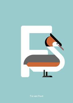 Fuut print. Nederlands Vogel Alfabet print: F is van door Guuske