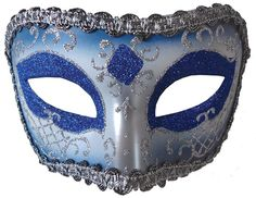 Carnival in Venice Medieval Theater Colombina Style Sea Blue & Silver Eye Mask  #MR #Mask #MrdiGrasCarnivalMasqueradeBall