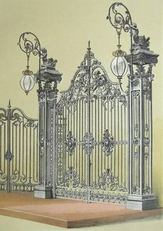 Rendered by and under the direction of W. Warren and G. The Chromolithograph Published in ENTRANCE GATE. Inventory: 1863 Folder from the Masterpieces of Industrial Art and Sculpture. Iron Gate Design, House Gate Design, Door Design, Metal Drawing, Classic House Design, La Forge, Wrought Iron Doors, Ideias Diy, Railing Design