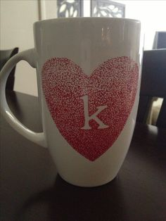 Beautiful heart design, DIY coffee mug --bake at 350 degrees for 30 minutes and voila!