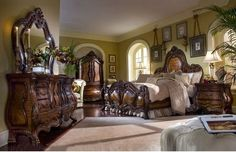 Classic Master Bedroom Furniture Sets with green wall paint colors