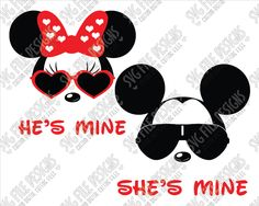 Mickey and Minnie Mouse He's Mine She's Mine SVG Cut File Set for Disney Valentine's Day Shirts with Cricut, Silhouette, and Brother ScanNCut Machines